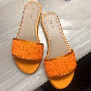 NEW J.Crew Sequin Abbot Slide Sandals Orange